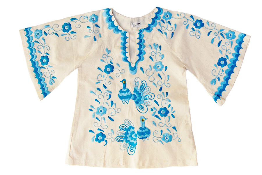 1970s Embroidered Peacocks Vintage Mexican Tunic Top