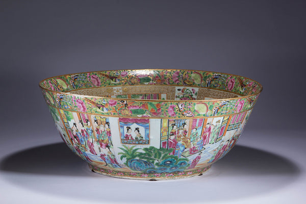Chinese Export Porcelain Qing Dynasty Famille Rose Monumental Punch Bowl