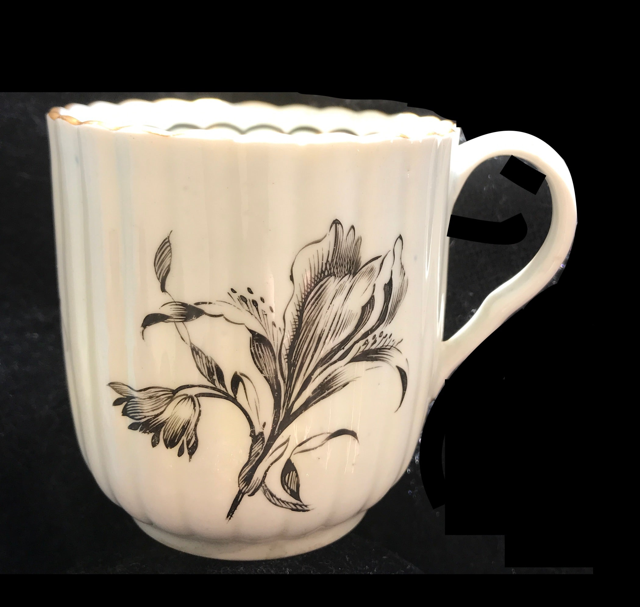 18th Century Worcester Porcelain Coffee Cup, Black Painted Flower.