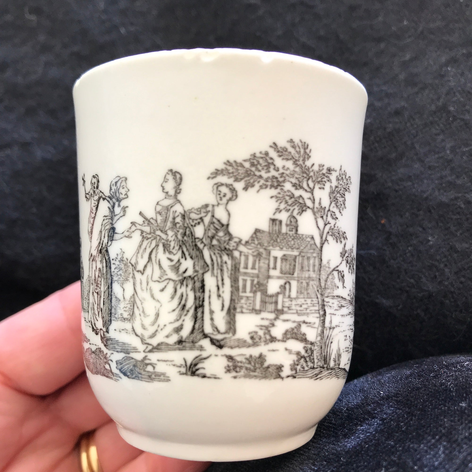 18th Century Worcester Porcelain Coffee Cup with Smokey Primitive Print.