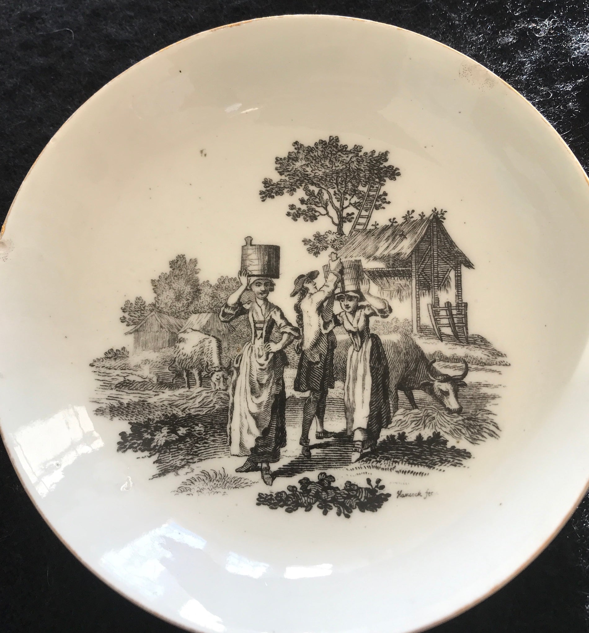 18th Century Worcester Porcelain Saucer Milkmaids Print.