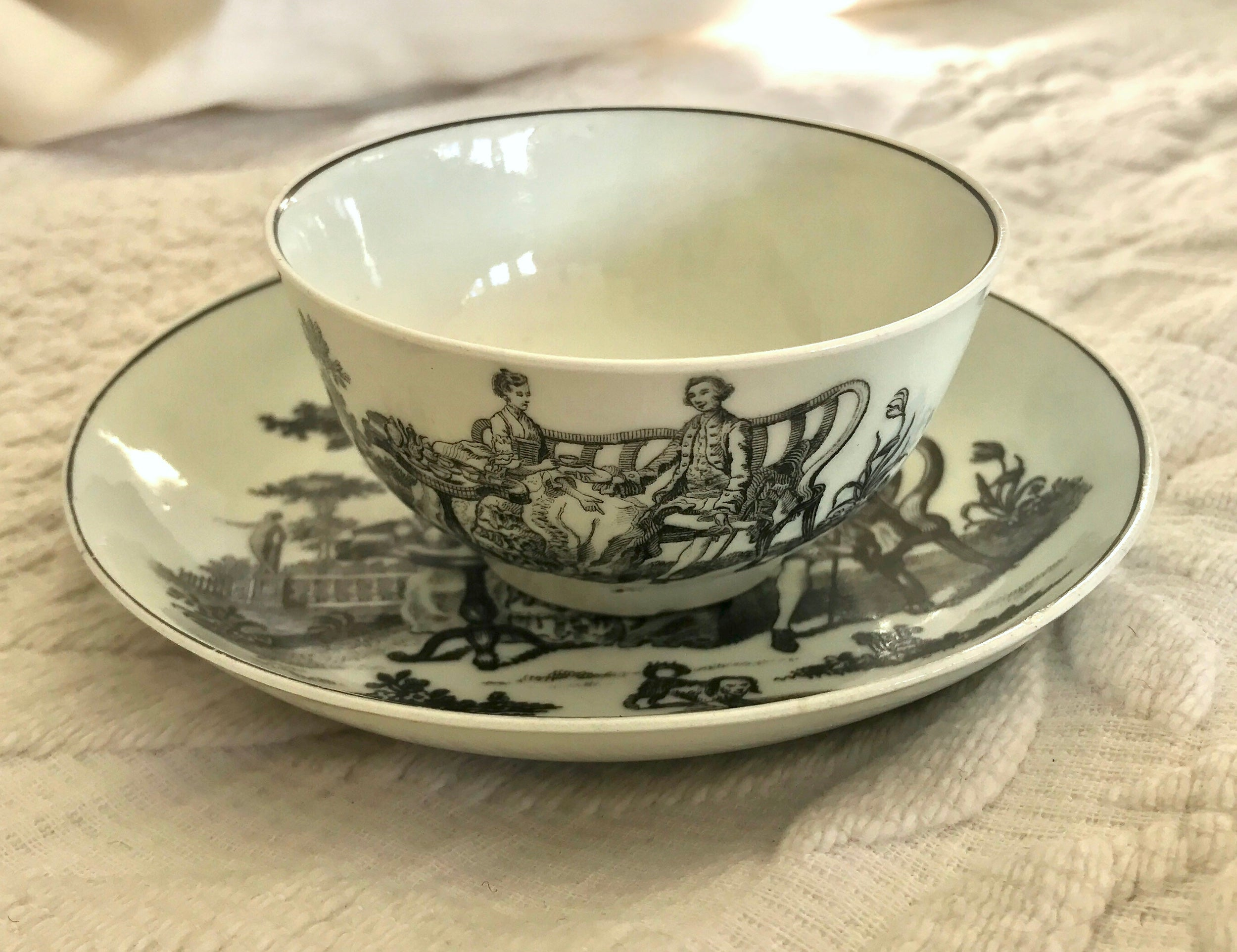 18th Century Worcester Porcelain Teabowl and Saucer, Tea Party Print.