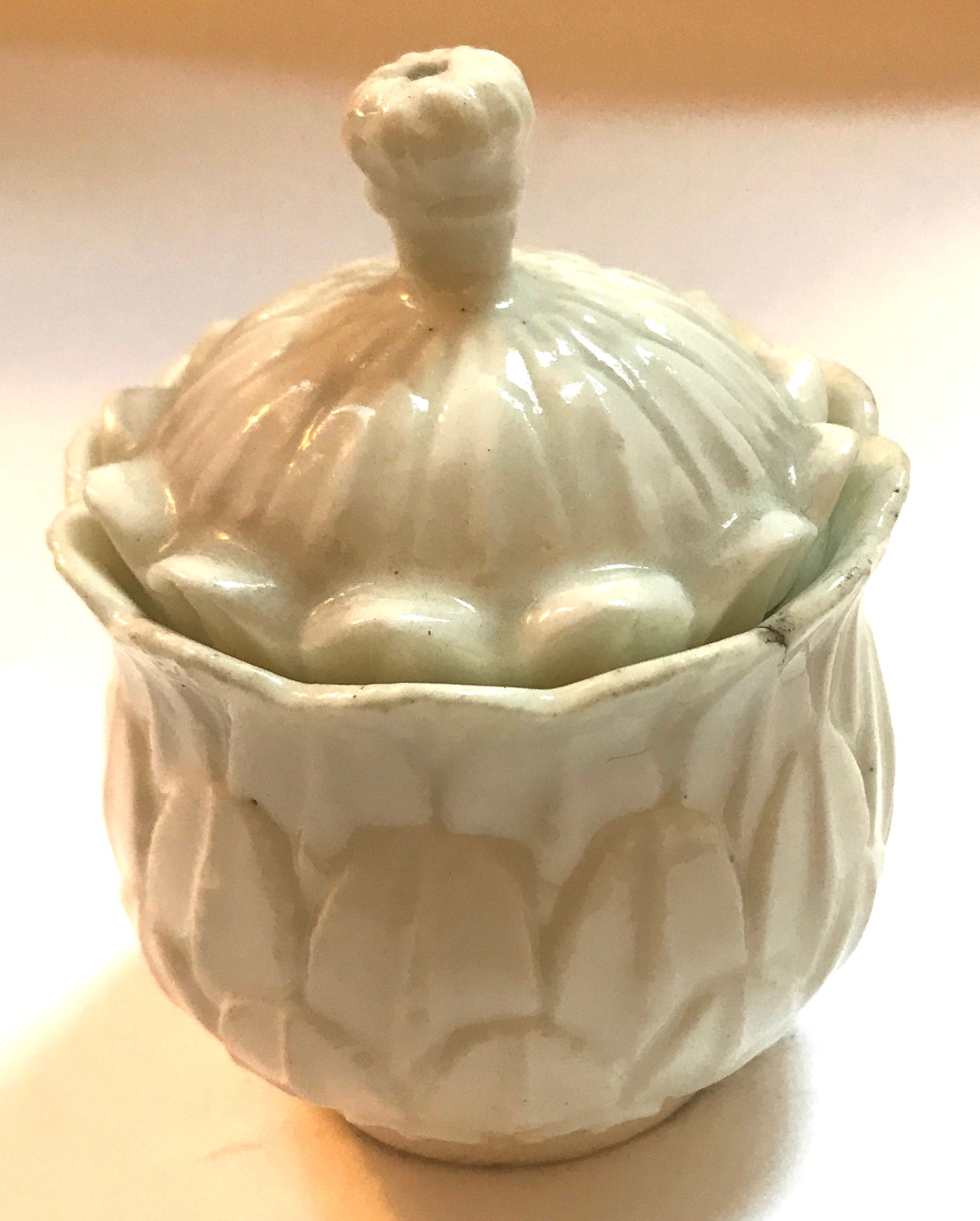 18th Century French Saint Cloud Porcelain Artichoke Moulded Pot a Toilette.