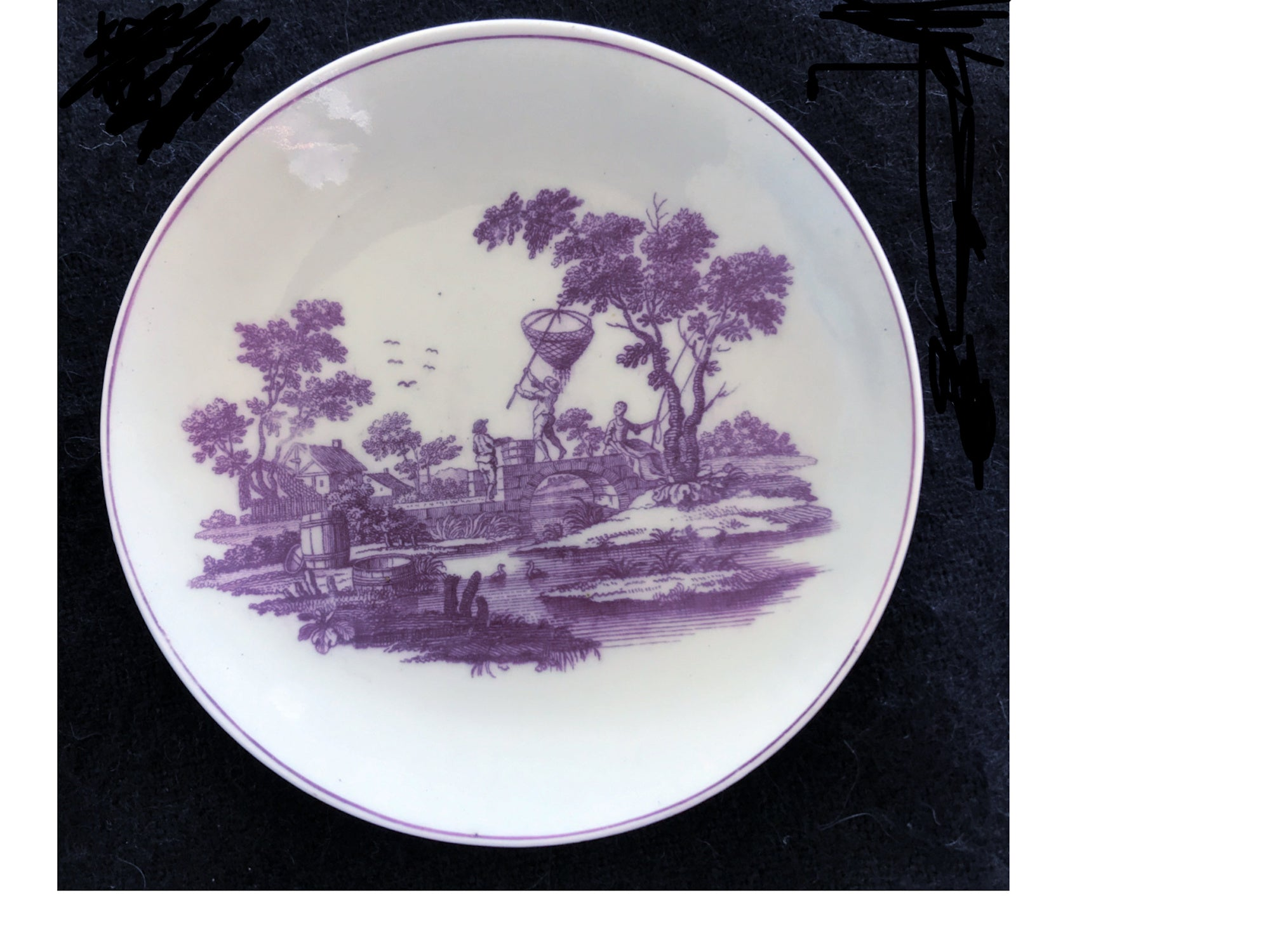 SOLD 18th Century Worcester Porcelain Teabowl and Saucer, Printed in Purple.