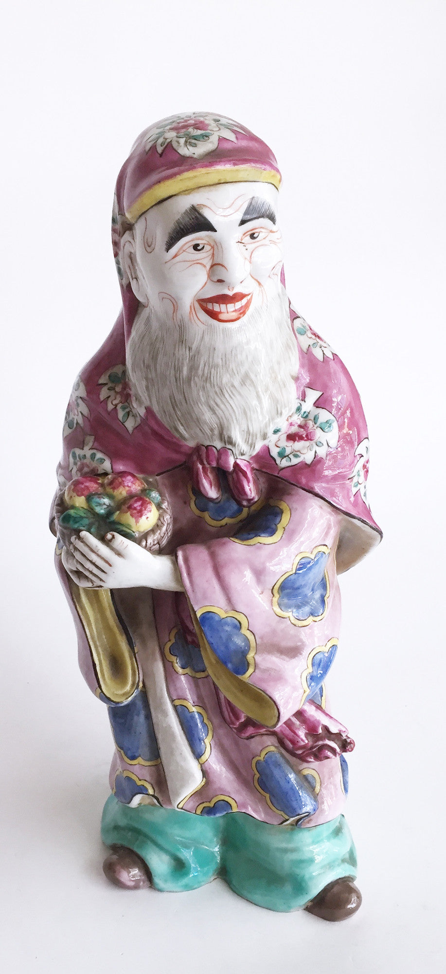 SOLD Chinese Late Qing Dynasty Chinese Colorful Porcelain Figure of an Immortal