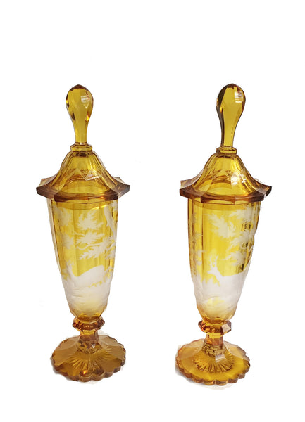 SOLD Pair of German-Czech 19th Century Bohemian Glass Covered Vases