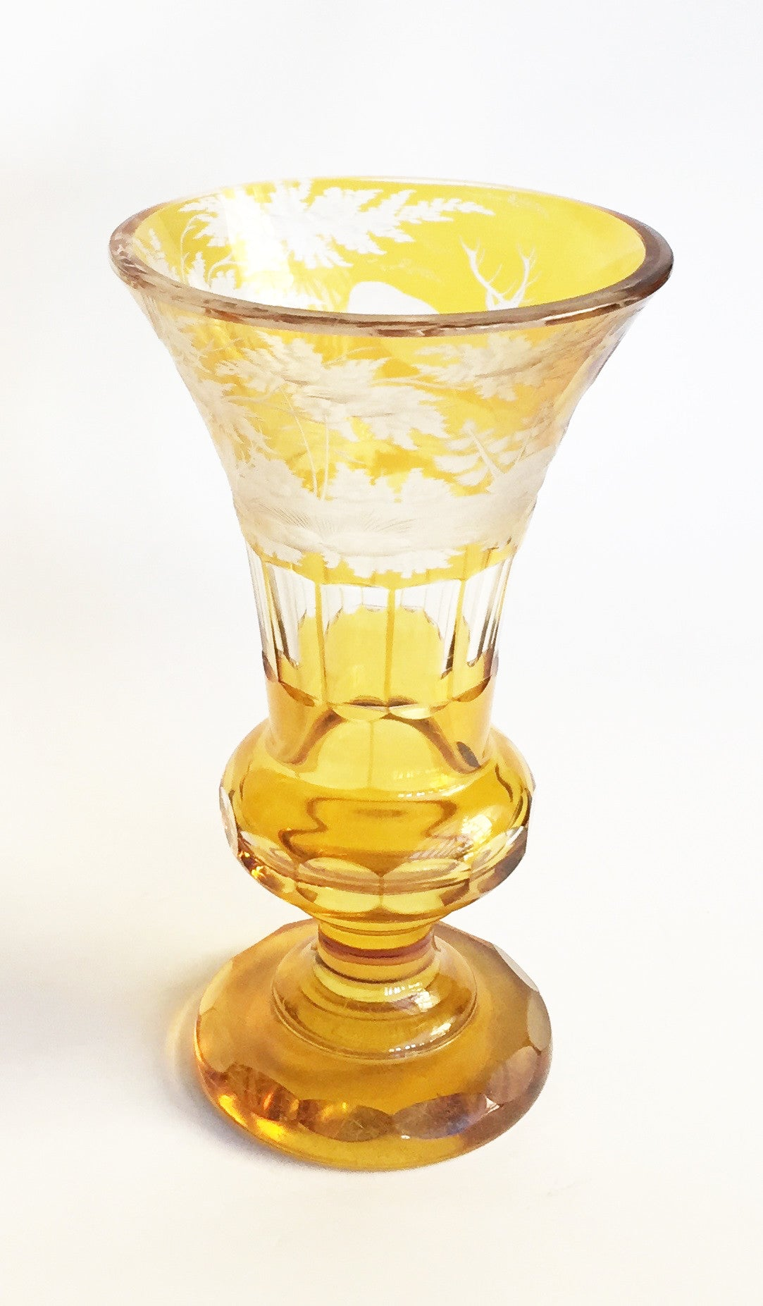 SOLD Antique Bohemian Amber Yellow Glass Conical Vase, 19th Century