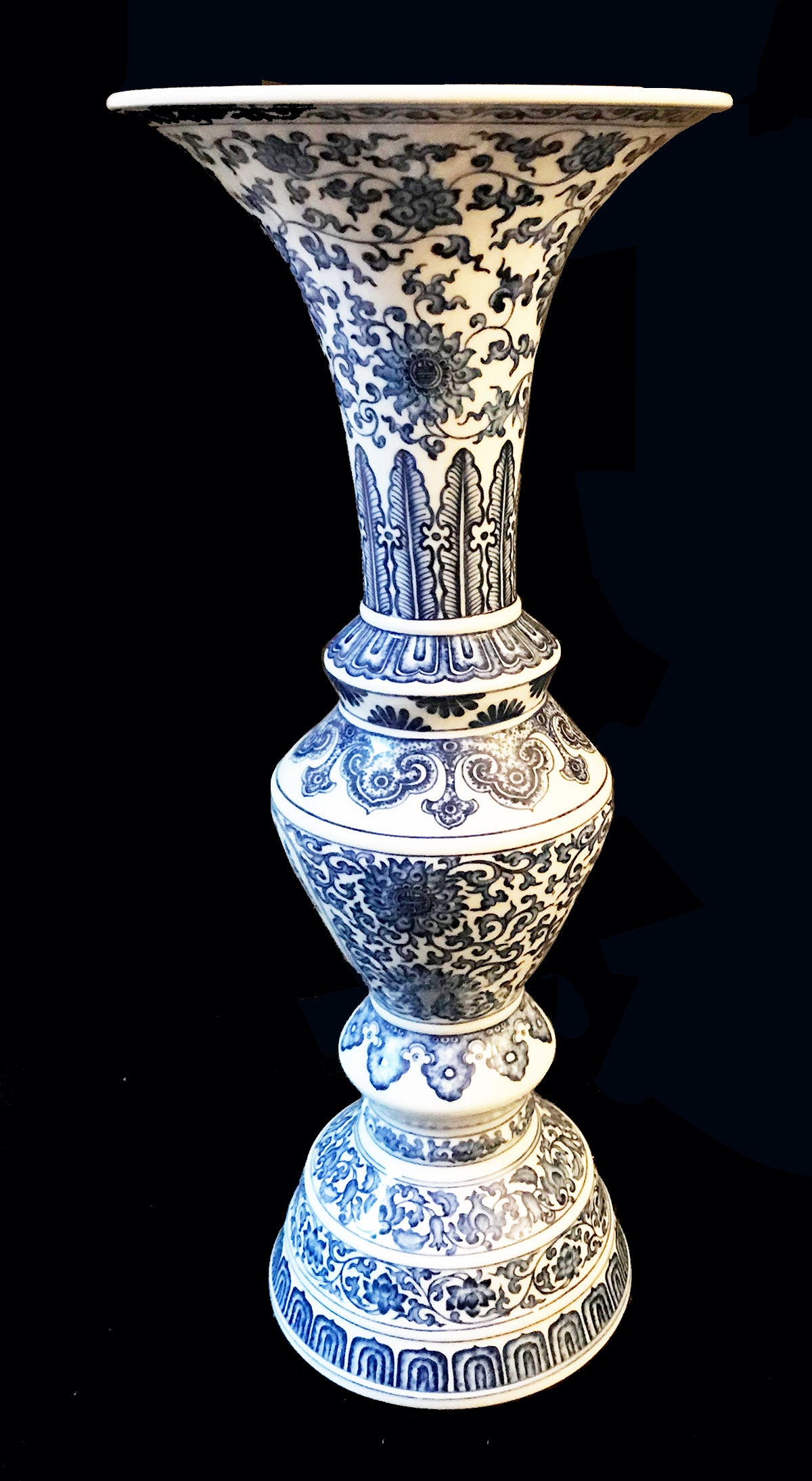 Chinese Republic Period Porcelain Gu-Shaped Vase Calligraphic Inscription