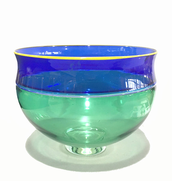 American Alex Brand (B. 1950s) Glass Incalmo Bowl Blue Green Yellow 1999