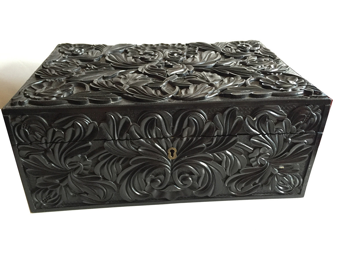 SOLD Antique Victorian Solid Ebony Carved Anglo-Indian Rectangular Box