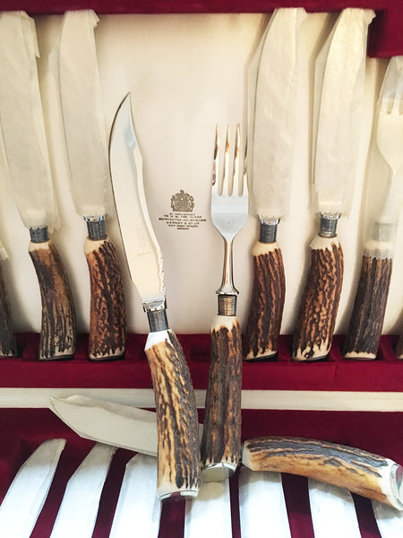 English Asprey Antler, Stainless Steel Cased Fork and Knife Set