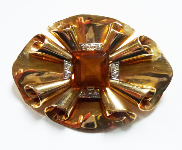 SOLD American Bailey, Banks & Biddle Citrine and Diamond Brooch