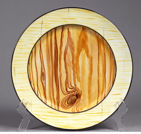 Hand Painted Wood Grain Plate by Jill Fenichell