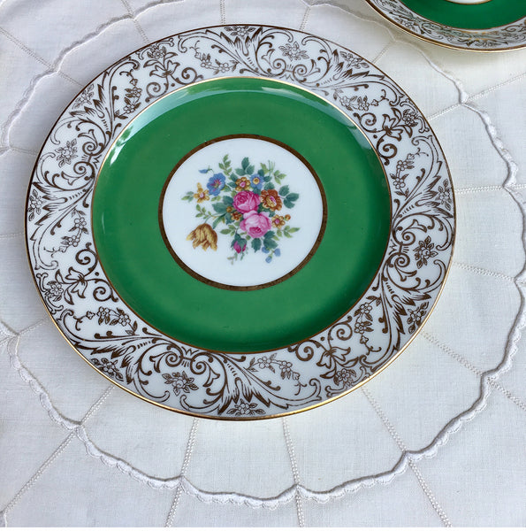 SOLD Czech Black Knight Porcelain Green Rim Floral Plates BLK35 S/12
