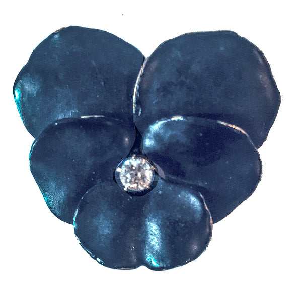 14K Enamel and Diamond Pansy Brooch