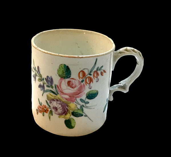 18th Century Champion's Bristol Hard Paste Porcelain Polychrome Painted Mug.
