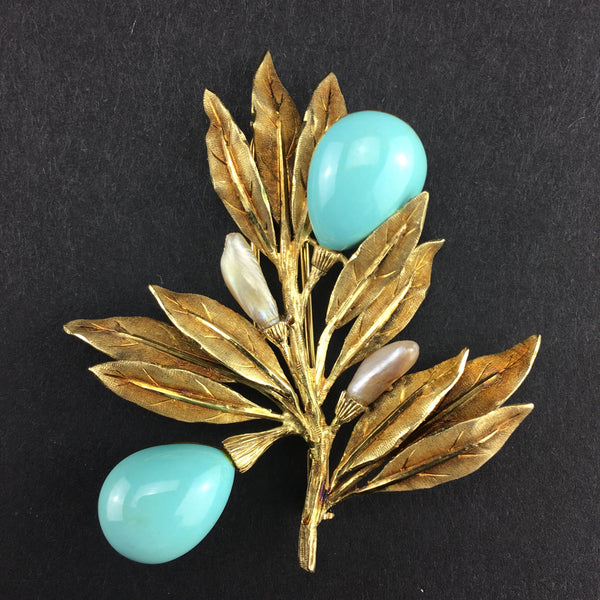 SOLD Mario Buccellati yellow gold, turquoise and pearl flower brooch
