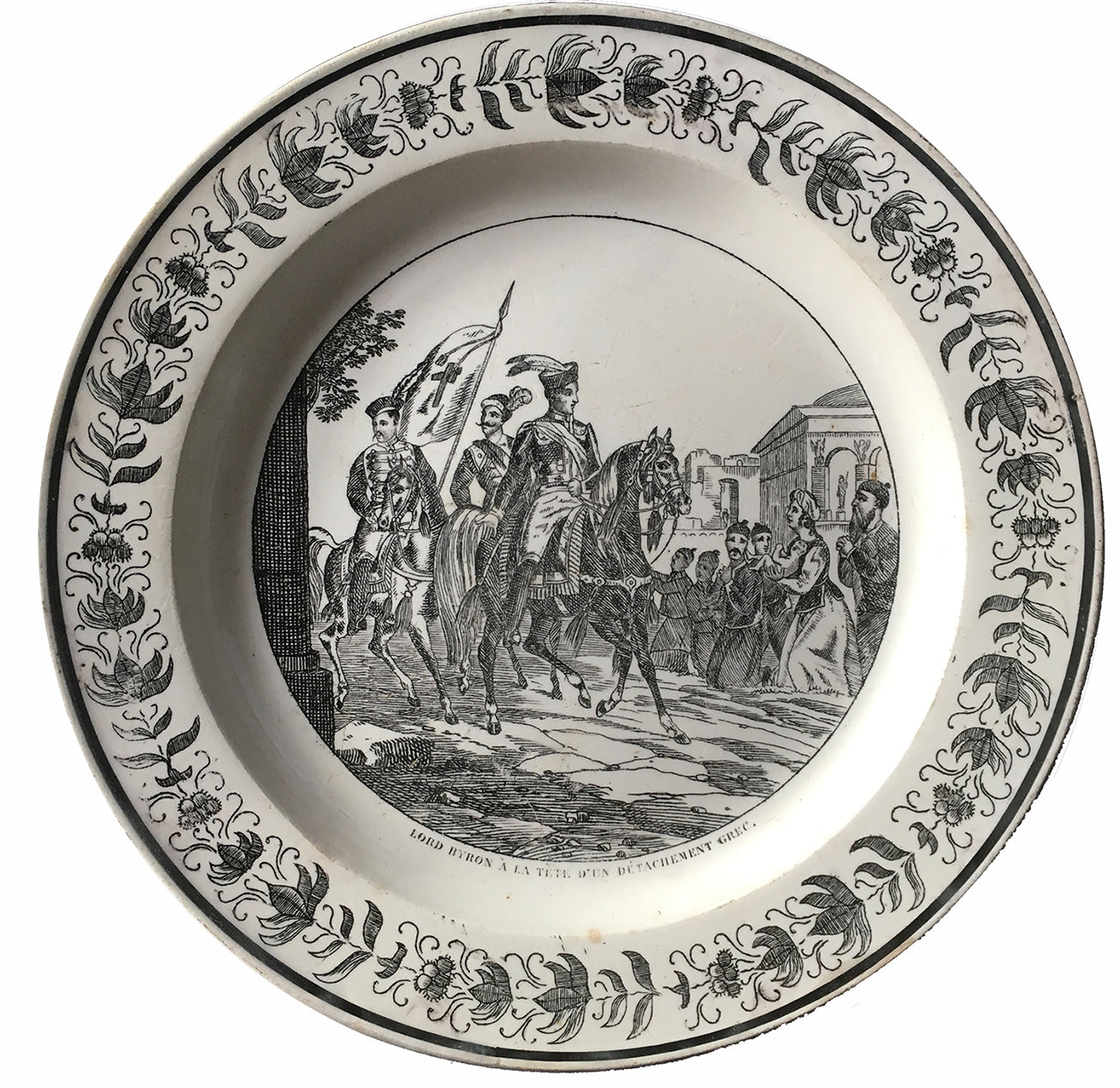 French Creil and Montreau Creamware Plate, Transfer-Printed with Scene of Byron Leading his Greek Troops