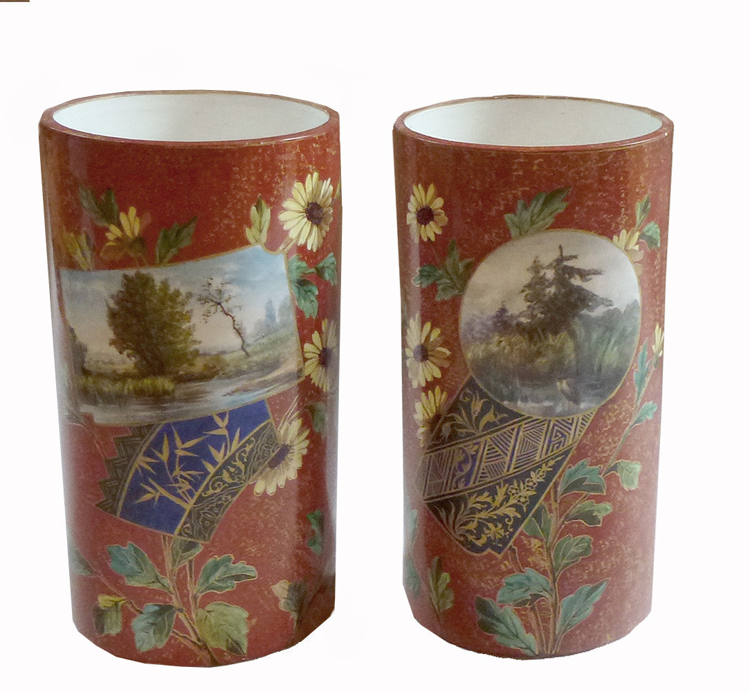 SOLD French Baignol & Compagnie at Creil & Montereau Japonisme Faience Vases