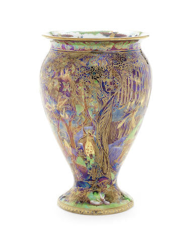 English Wedgwood Art Deco Fairyland Lustre Vase, Jewelled Tree Cat and Mouse Pattern