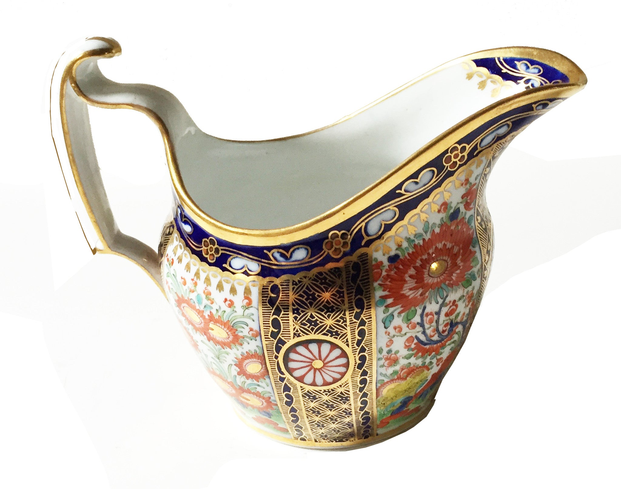 SOLD English Chamberlain's Worcester Rich Queen's Pattern Cream Jug, 1780-1800