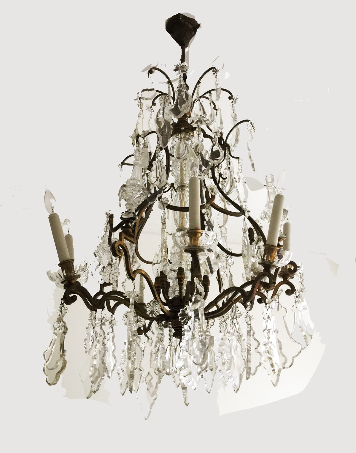 French Louis XV Style Gilt-Bronze and Cut-Glass Sixteen-Light Chandelier