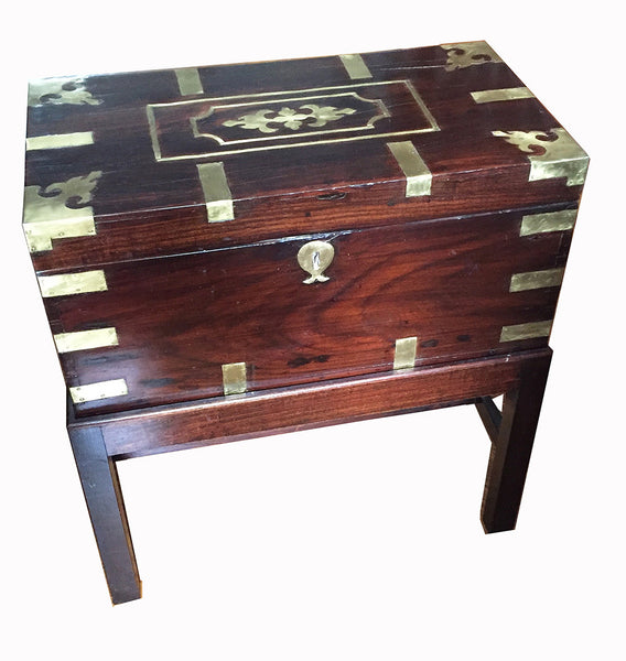 SOLD Victorian Anglo-Colonial Wood Brass-Inlaid Campaign or Travel Chest on Later Stand