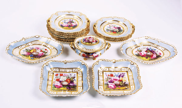 SOLD English Coalport Dessert Service, Union Shape, Painted with Bird's Nests