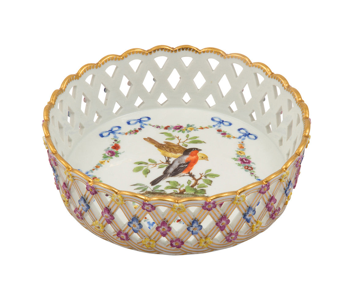 Dresden Meissen Marcolini Style Porcelain Basket-and Flower Molded Wine Coaster,