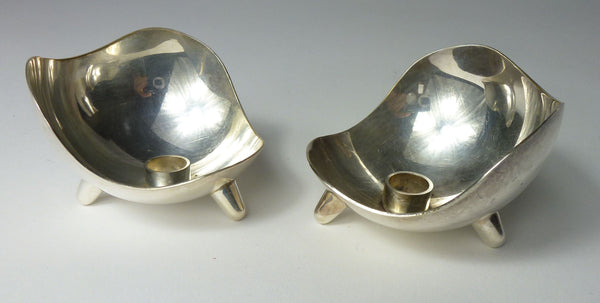 SOLD Danish Mid Century Modern Stainless Steel Candlesticks 1960s
