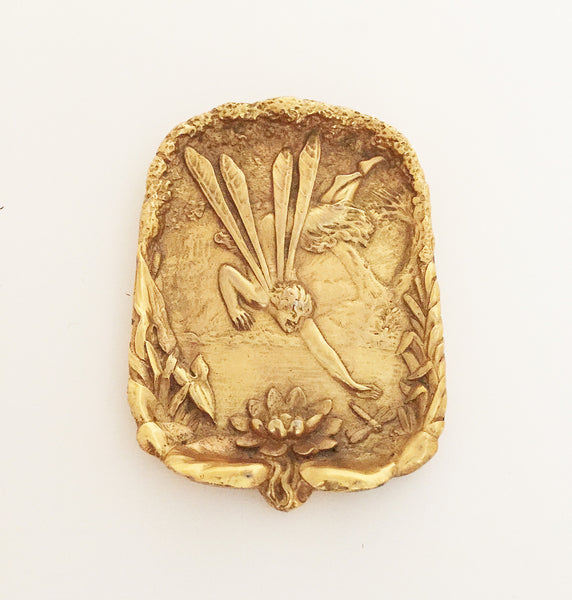 SOLD French Art Nouveau Gilt-Bronze Pin Tray, Water Nymph and Water Lily theme, c. 1900