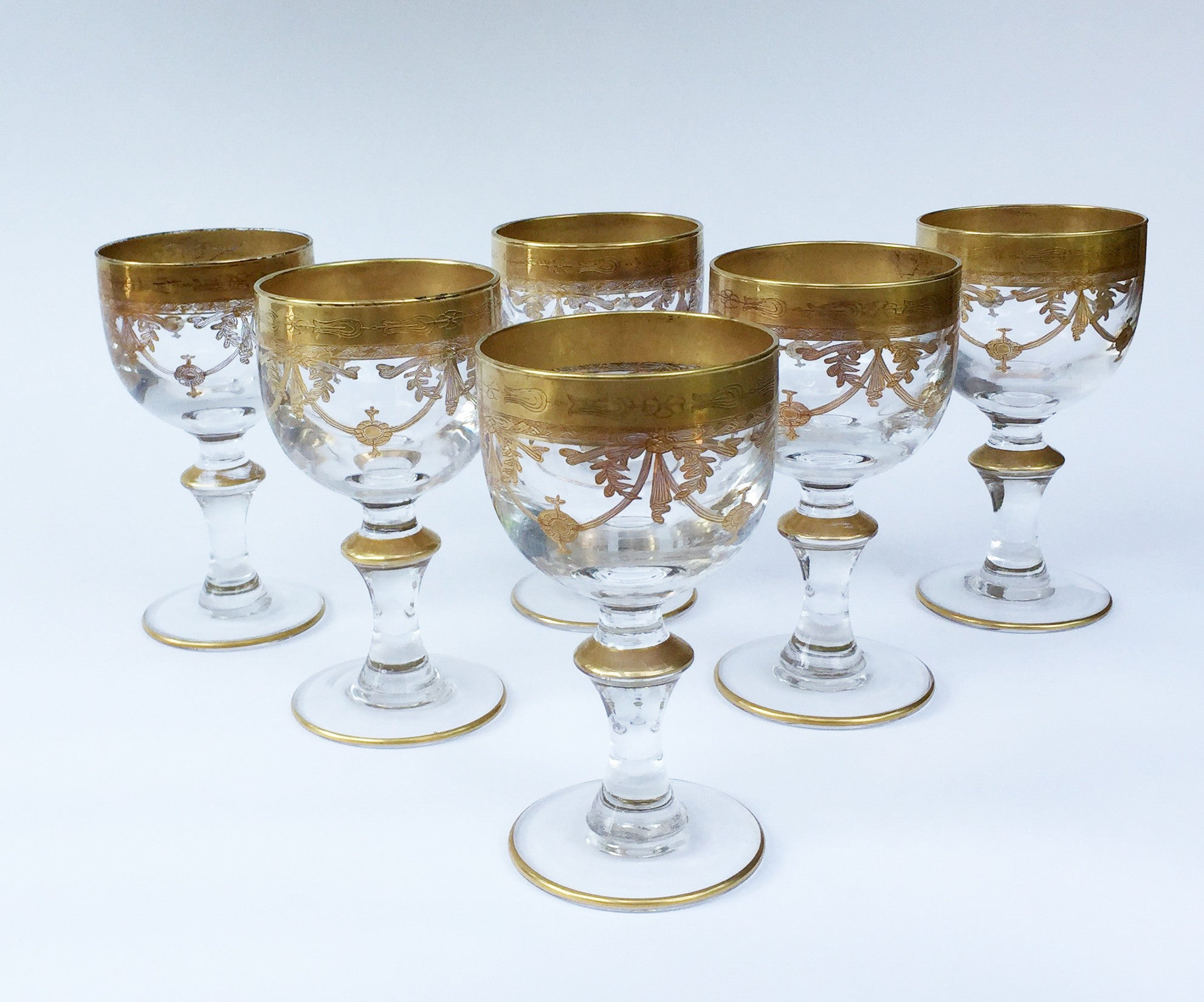 Antique French Lead-Crystal Red Wine Glasses, Enamelled Gilt Decoration, circa 1920