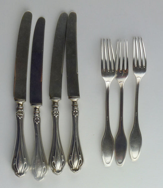 Sterling and German Silverplate Fruit Fork and Knives, Group of Six