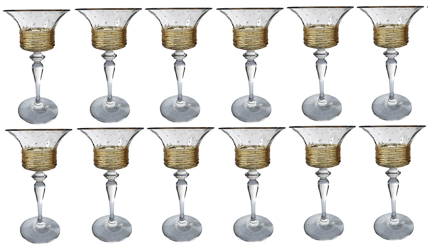 SOLD American  H.C. Fry Glass Set of 14 Cordial Glasses with Gold Threads