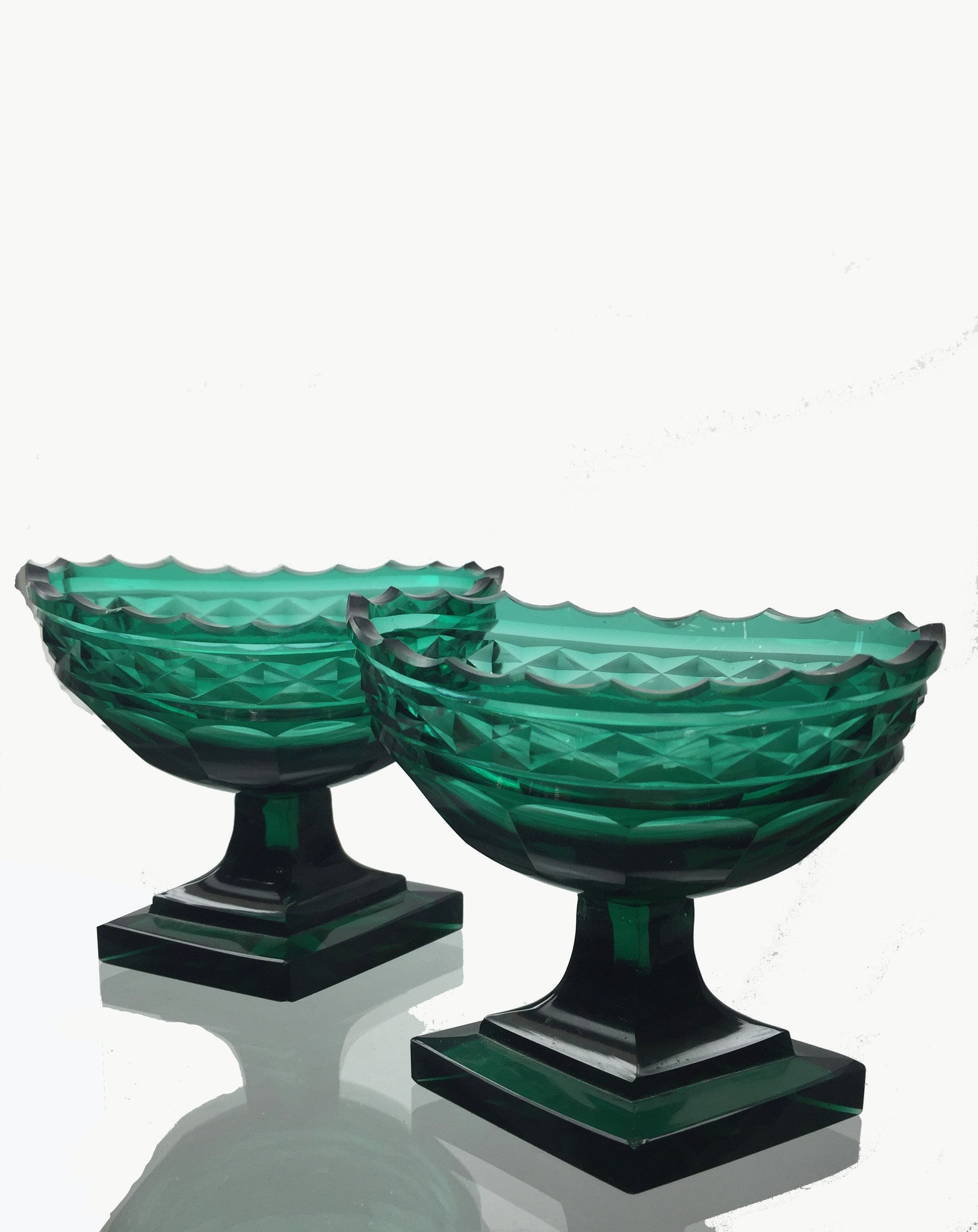 SOLD Pair of Anglo-English Georgian Emerald Green Blown- and Molded-Glass Master Salts