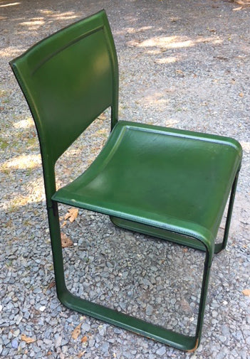 Matteo Grassi Modern Italian Sistina Strap Chairs Green 1980s Set of Four