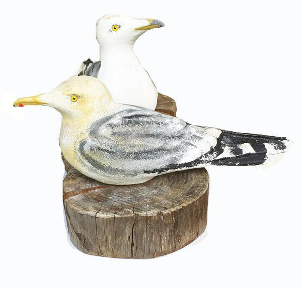 Artist-Signed Pair of Seagulls on Wood Slabs Doorstops