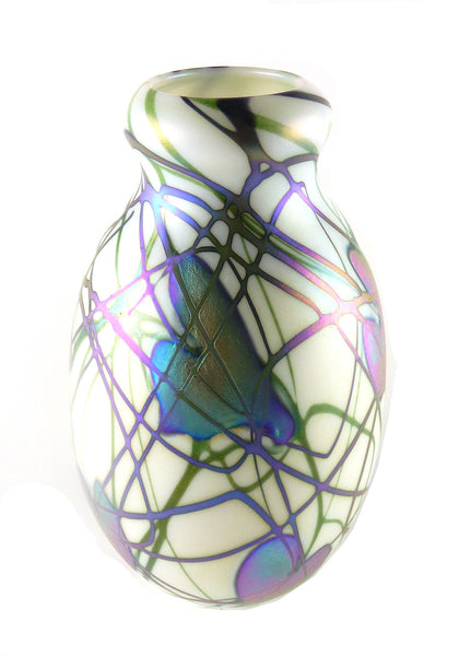 SOLD Charles Lotton Studio Art Glass Iridescent and Opalescent White Glass Vase