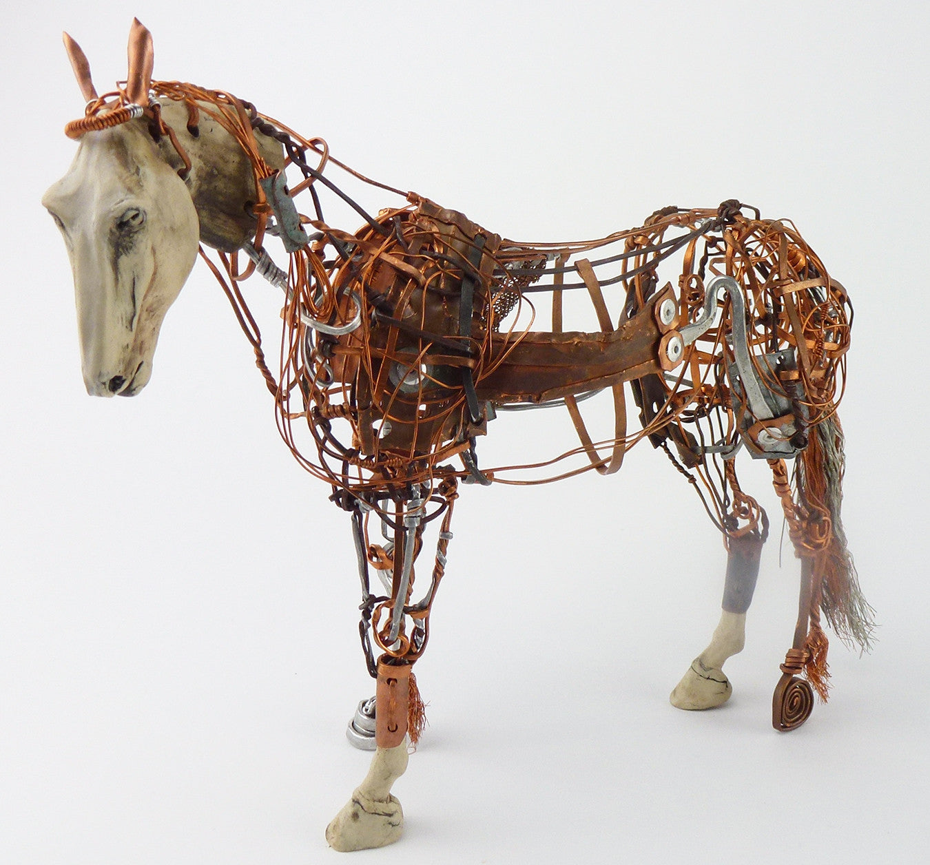 SOLD Aggie Zed Contemporary Metal and Ceramic Figural Sculpture of a Horse