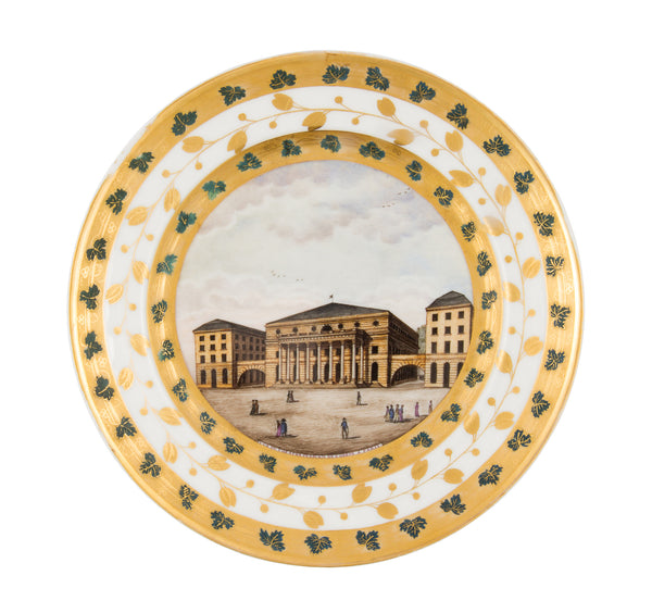 SOLD French Paris Porcelain Cabinet Plate, View of the Paris Opera