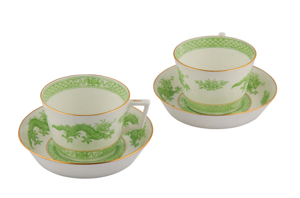 SOLD English Hammersley & Co. Green Dragon Pattern Bone China Breakfast Cup and Saucer