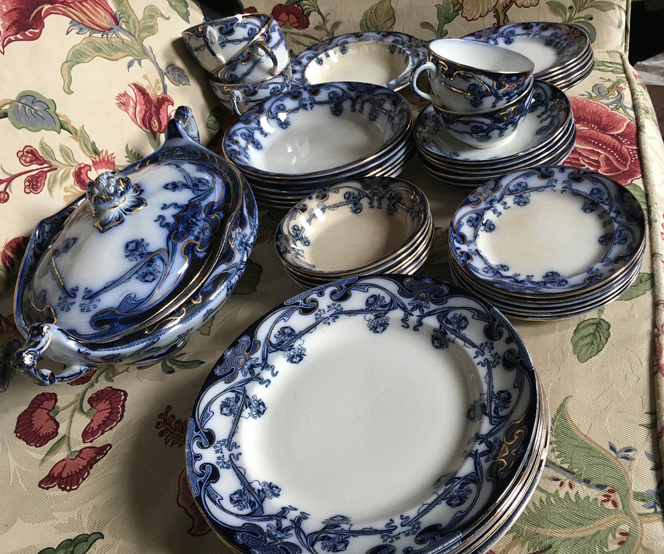 SOLD Art Nouveau Flow Blue English Staffordshire Iris Pattern Dinnerware , 43 Items