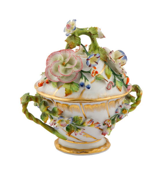19th Century Jacob Petit Porcelain Covered Cup with Applied Flowers