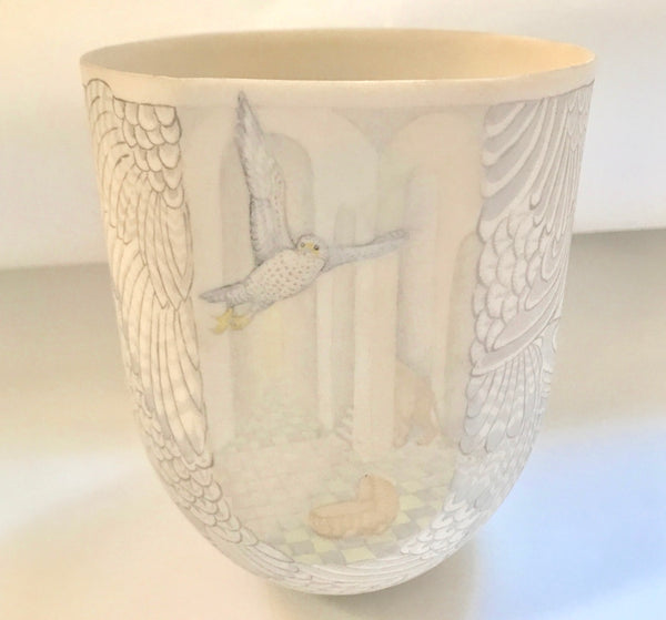 English Modern Studio Art Porcelain Painted Beaker by Jane Osborne Smith.