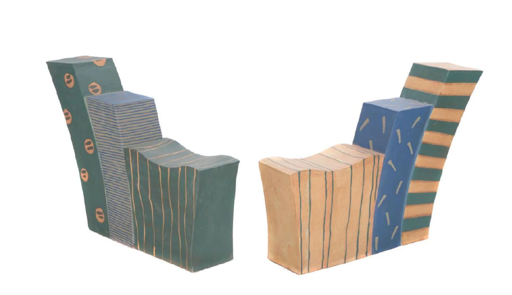Pair of Contemporary Studio Pottery Stoneware Love Seats by Kazuko Matthews