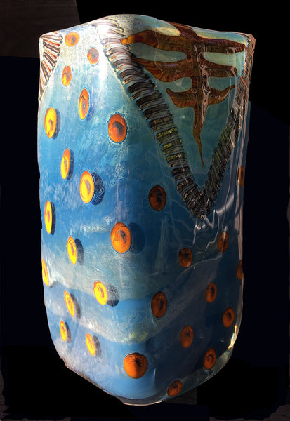 Contemporary Studio Glass Vase by Kenny Walton, Blue Tones