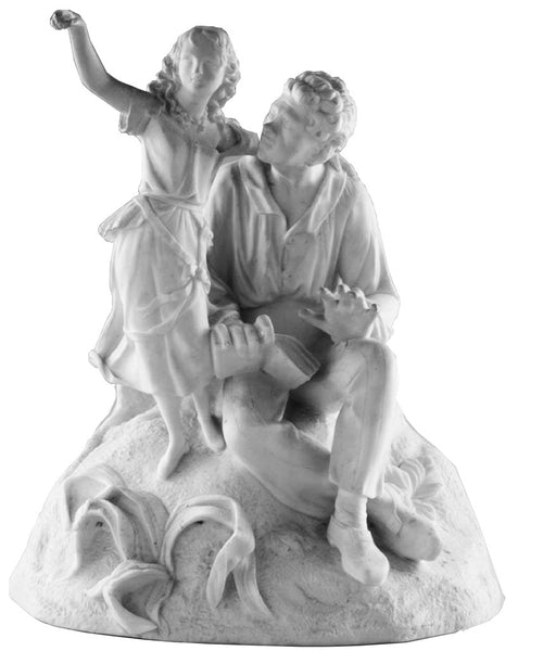 "SOLD English Victorian Rare Worcester Parian Figural Group, ""Uncle Tom, Eva"""