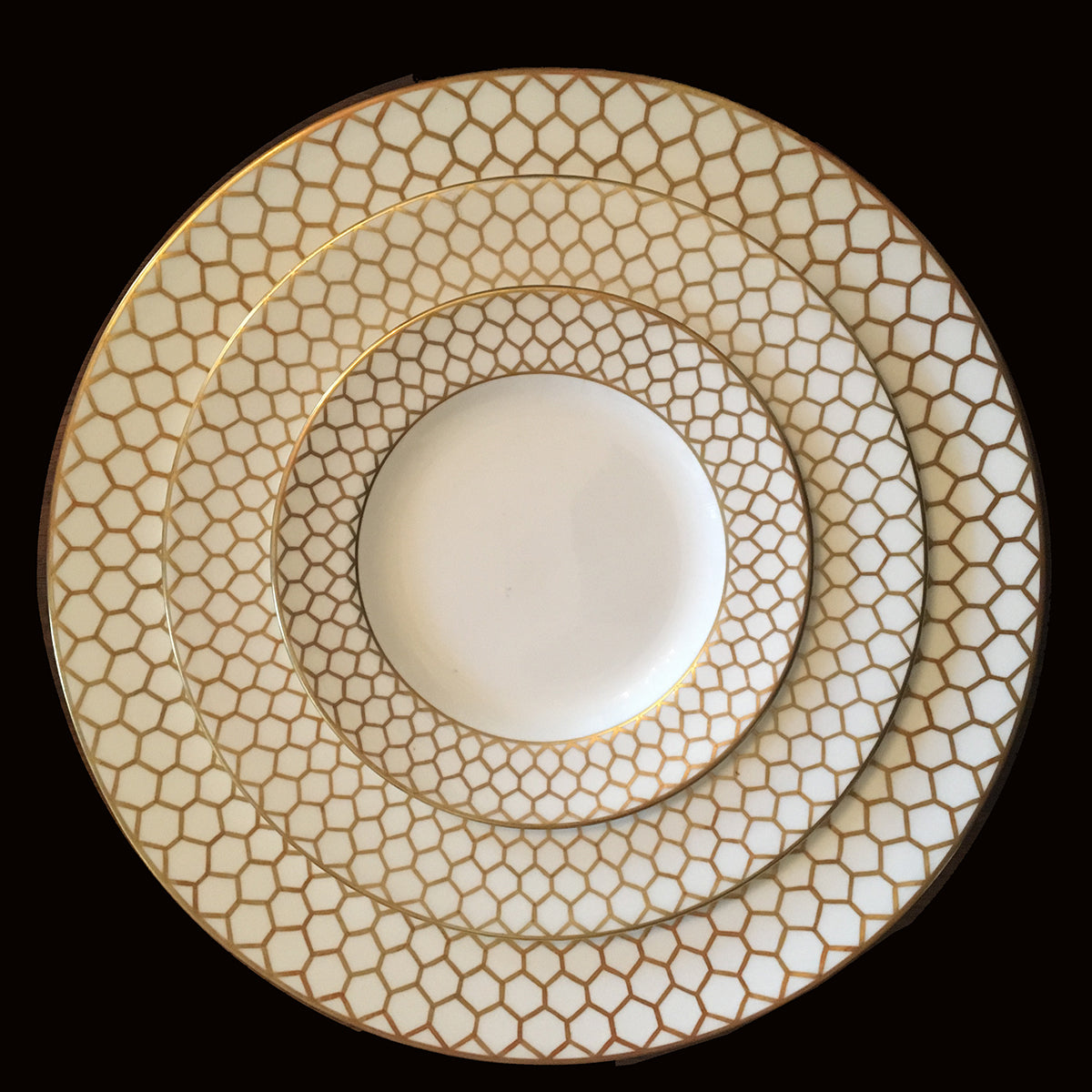 SOLD French Le Tallec  Porcelain Plates for Tiffany Gold Trellis Border
