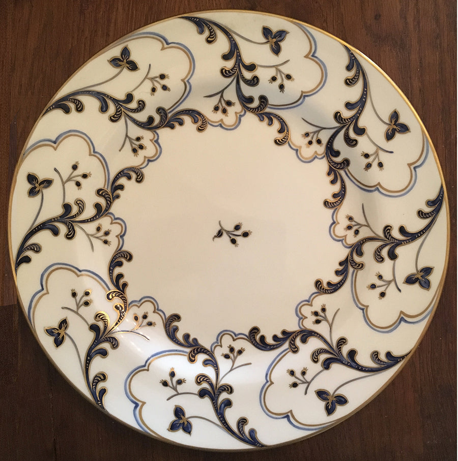 SOLD French Le Tallec Porcelain for Tiffany Blue and Gold Floral Dinnerware