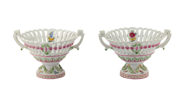 Dresden Marcolini Meissen Style Porcelain Pair Baskets on Stands